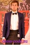 Мужской костюм 1487-6032 синий смокинг с черными брюками TOЯRES