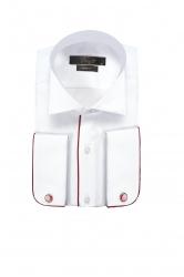 Мужская сорочка с запонками с красной отделкой
